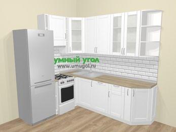 Угловая кухня МДФ матовый  в скандинавском стиле 6,6 м², 190 на 240 см, Белый, верхние модули 92 см, посудомоечная машина, холодильник, отдельно стоящая плита