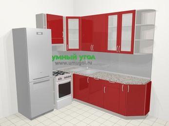 Угловая кухня МДФ глянец в современном стиле 6,6 м², 190 на 240 см, Красный, верхние модули 92 см, посудомоечная машина, холодильник, отдельно стоящая плита