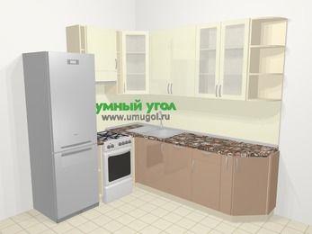 Угловая кухня МДФ глянец в современном стиле 6,6 м², 190 на 240 см, Жасмин / Капучино, верхние модули 92 см, посудомоечная машина, холодильник, отдельно стоящая плита