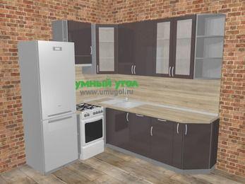 Угловая кухня МДФ глянец в стиле лофт 6,6 м², 190 на 240 см, Шоколад, верхние модули 92 см, посудомоечная машина, холодильник, отдельно стоящая плита
