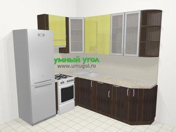 Кухни пластиковые угловые в современном стиле 6,6 м², 190 на 240 см, Желтый Галлион глянец / Дерево Мокка, верхние модули 92 см, посудомоечная машина, холодильник, отдельно стоящая плита