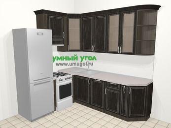 Угловая кухня МДФ патина в классическом стиле 6,6 м², 190 на 240 см, Венге, верхние модули 92 см, посудомоечная машина, холодильник, отдельно стоящая плита