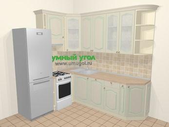 Угловая кухня МДФ патина в стиле прованс 6,6 м², 190 на 240 см, Керамик, верхние модули 92 см, посудомоечная машина, холодильник, отдельно стоящая плита