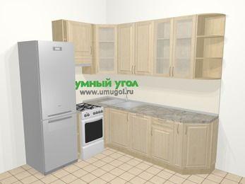 Угловая кухня из массива дерева в классическом стиле 6,6 м², 190 на 240 см, Светло-коричневые оттенки, верхние модули 92 см, посудомоечная машина, холодильник, отдельно стоящая плита