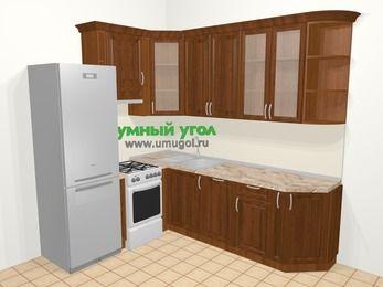 Угловая кухня из массива дерева в классическом стиле 6,6 м², 190 на 240 см, Темно-коричневые оттенки, верхние модули 92 см, посудомоечная машина, холодильник, отдельно стоящая плита