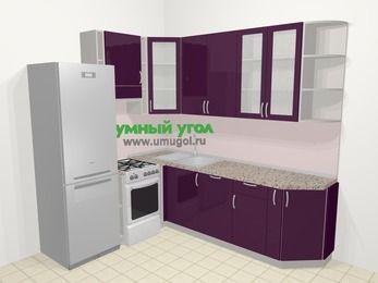 Угловая кухня МДФ глянец в современном стиле 6,6 м², 190 на 240 см, Баклажан, верхние модули 92 см, посудомоечная машина, холодильник, отдельно стоящая плита