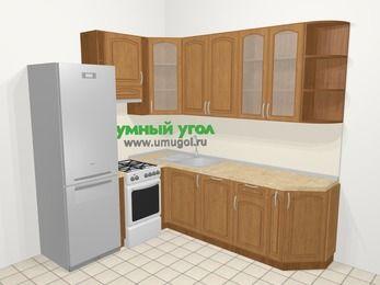 Угловая кухня МДФ патина в классическом стиле 6,6 м², 190 на 240 см, Ольха, верхние модули 92 см, посудомоечная машина, холодильник, отдельно стоящая плита