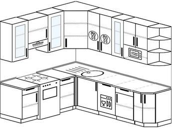 Угловая кухня 6,6 м² (1,9✕2,4 м), верхние модули 92 см, посудомоечная машина, модуль под свч, отдельно стоящая плита