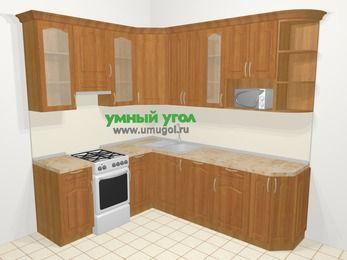 Угловая кухня МДФ матовый в классическом стиле 6,6 м², 190 на 240 см, Вишня, верхние модули 92 см, посудомоечная машина, модуль под свч, отдельно стоящая плита