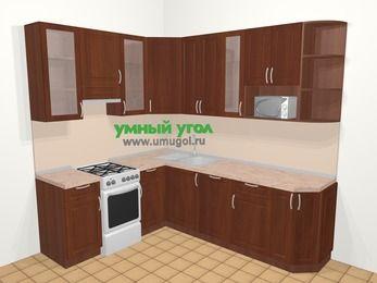 Угловая кухня МДФ матовый в классическом стиле 6,6 м², 190 на 240 см, Вишня темная, верхние модули 92 см, посудомоечная машина, модуль под свч, отдельно стоящая плита