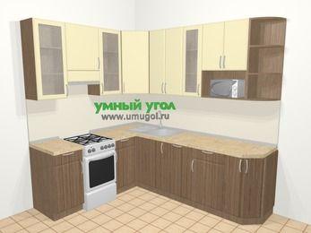 Угловая кухня МДФ матовый в современном стиле 6,6 м², 190 на 240 см, Ваниль / Лиственница бронзовая, верхние модули 92 см, посудомоечная машина, модуль под свч, отдельно стоящая плита
