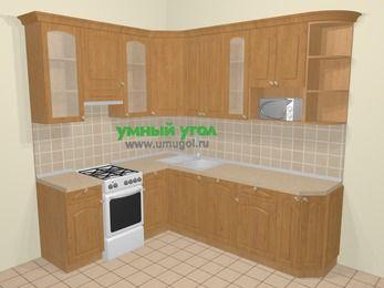 Угловая кухня МДФ матовый в стиле кантри 6,6 м², 190 на 240 см, Ольха, верхние модули 92 см, посудомоечная машина, модуль под свч, отдельно стоящая плита