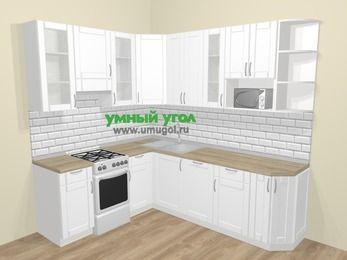 Угловая кухня МДФ матовый  в скандинавском стиле 6,6 м², 190 на 240 см, Белый, верхние модули 92 см, посудомоечная машина, модуль под свч, отдельно стоящая плита