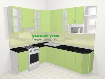 Угловая кухня МДФ металлик в современном стиле 6,6 м², 190 на 240 см, Салатовый металлик, верхние модули 92 см, посудомоечная машина, модуль под свч, отдельно стоящая плита