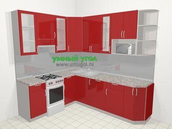 Угловая кухня МДФ глянец в современном стиле 6,6 м², 190 на 240 см, Красный, верхние модули 92 см, посудомоечная машина, модуль под свч, отдельно стоящая плита