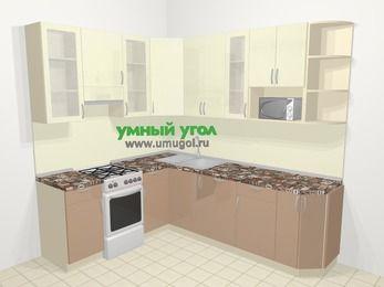 Угловая кухня МДФ глянец в современном стиле 6,6 м², 190 на 240 см, Жасмин / Капучино, верхние модули 92 см, посудомоечная машина, модуль под свч, отдельно стоящая плита