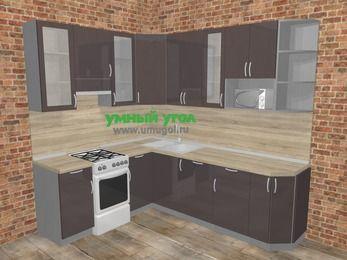 Угловая кухня МДФ глянец в стиле лофт 6,6 м², 190 на 240 см, Шоколад, верхние модули 92 см, посудомоечная машина, модуль под свч, отдельно стоящая плита