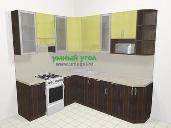 Кухни пластиковые угловые в современном стиле 6,6 м², 190 на 240 см, Желтый Галлион глянец / Дерево Мокка, верхние модули 92 см, посудомоечная машина, модуль под свч, отдельно стоящая плита