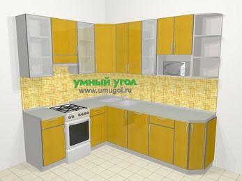 Кухни пластиковые угловые в современном стиле 6,6 м², 190 на 240 см, Желтый глянец, верхние модули 92 см, посудомоечная машина, модуль под свч, отдельно стоящая плита