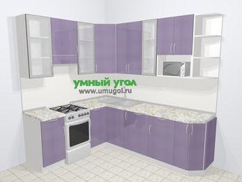 Кухни пластиковые угловые в современном стиле 6,6 м², 190 на 240 см, Сиреневый глянец, верхние модули 92 см, посудомоечная машина, модуль под свч, отдельно стоящая плита