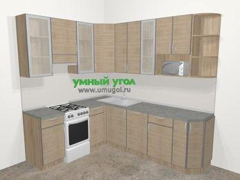 Кухни пластиковые угловые в стиле лофт 6,6 м², 190 на 240 см, Чибли бежевый, верхние модули 92 см, посудомоечная машина, модуль под свч, отдельно стоящая плита
