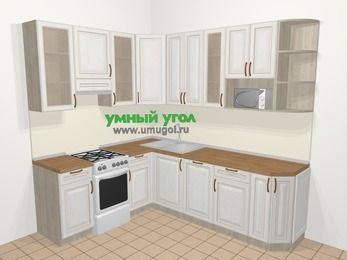 Угловая кухня МДФ патина в классическом стиле 6,6 м², 190 на 240 см, Лиственница белая, верхние модули 92 см, посудомоечная машина, модуль под свч, отдельно стоящая плита