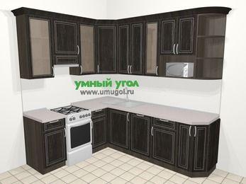 Угловая кухня МДФ патина в классическом стиле 6,6 м², 190 на 240 см, Венге, верхние модули 92 см, посудомоечная машина, модуль под свч, отдельно стоящая плита