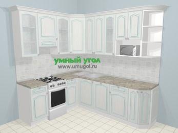 Угловая кухня МДФ патина в стиле прованс 6,6 м², 190 на 240 см, Лиственница белая, верхние модули 92 см, посудомоечная машина, модуль под свч, отдельно стоящая плита