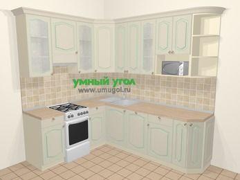 Угловая кухня МДФ патина в стиле прованс 6,6 м², 190 на 240 см, Керамик, верхние модули 92 см, посудомоечная машина, модуль под свч, отдельно стоящая плита