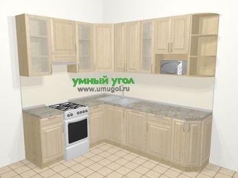 Угловая кухня из массива дерева в классическом стиле 6,6 м², 190 на 240 см, Светло-коричневые оттенки, верхние модули 92 см, посудомоечная машина, модуль под свч, отдельно стоящая плита