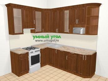 Угловая кухня из массива дерева в классическом стиле 6,6 м², 190 на 240 см, Темно-коричневые оттенки, верхние модули 92 см, посудомоечная машина, модуль под свч, отдельно стоящая плита