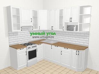 Угловая кухня из массива дерева в скандинавском стиле 6,6 м², 190 на 240 см, Белые оттенки, верхние модули 92 см, посудомоечная машина, модуль под свч, отдельно стоящая плита