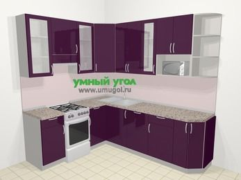 Угловая кухня МДФ глянец в современном стиле 6,6 м², 190 на 240 см, Баклажан, верхние модули 92 см, посудомоечная машина, модуль под свч, отдельно стоящая плита
