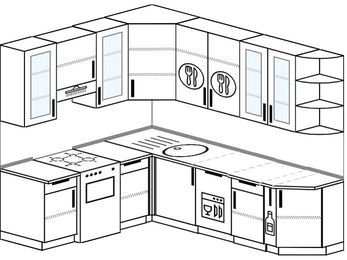 Угловая кухня 6,6 м² (1,9✕2,4 м), верхние модули 92 см, посудомоечная машина, отдельно стоящая плита