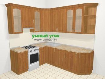 Угловая кухня МДФ матовый в классическом стиле 6,6 м², 190 на 240 см, Вишня, верхние модули 92 см, посудомоечная машина, отдельно стоящая плита