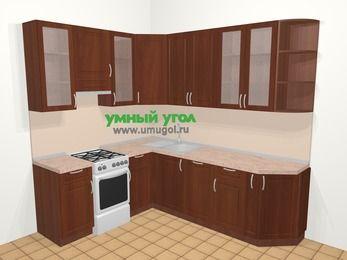 Угловая кухня МДФ матовый в классическом стиле 6,6 м², 190 на 240 см, Вишня темная, верхние модули 92 см, посудомоечная машина, отдельно стоящая плита