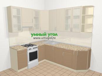 Угловая кухня МДФ матовый в современном стиле 6,6 м², 190 на 240 см, Керамик / Кофе, верхние модули 92 см, посудомоечная машина, отдельно стоящая плита