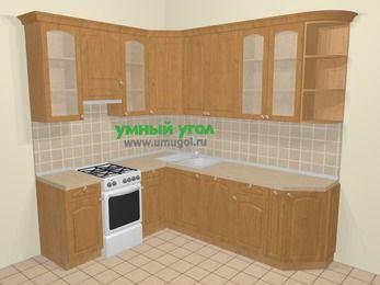 Угловая кухня МДФ матовый в стиле кантри 6,6 м², 190 на 240 см, Ольха, верхние модули 92 см, посудомоечная машина, отдельно стоящая плита