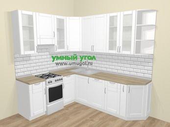Угловая кухня МДФ матовый  в скандинавском стиле 6,6 м², 190 на 240 см, Белый, верхние модули 92 см, посудомоечная машина, отдельно стоящая плита