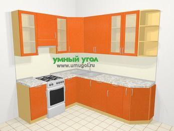 Угловая кухня МДФ металлик в современном стиле 6,6 м², 190 на 240 см, Оранжевый металлик, верхние модули 92 см, посудомоечная машина, отдельно стоящая плита