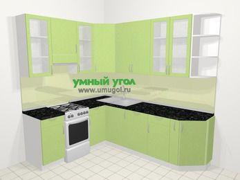 Угловая кухня МДФ металлик в современном стиле 6,6 м², 190 на 240 см, Салатовый металлик, верхние модули 92 см, посудомоечная машина, отдельно стоящая плита