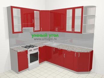 Угловая кухня МДФ глянец в современном стиле 6,6 м², 190 на 240 см, Красный, верхние модули 92 см, посудомоечная машина, отдельно стоящая плита