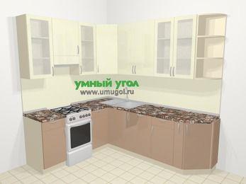 Угловая кухня МДФ глянец в современном стиле 6,6 м², 190 на 240 см, Жасмин / Капучино, верхние модули 92 см, посудомоечная машина, отдельно стоящая плита