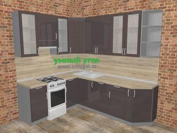 Угловая кухня МДФ глянец в стиле лофт 6,6 м², 190 на 240 см, Шоколад, верхние модули 92 см, посудомоечная машина, отдельно стоящая плита