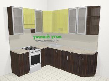 Кухни пластиковые угловые в современном стиле 6,6 м², 190 на 240 см, Желтый Галлион глянец / Дерево Мокка, верхние модули 92 см, посудомоечная машина, отдельно стоящая плита