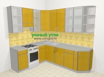 Кухни пластиковые угловые в современном стиле 6,6 м², 190 на 240 см, Желтый глянец, верхние модули 92 см, посудомоечная машина, отдельно стоящая плита