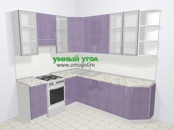 Кухни пластиковые угловые в современном стиле 6,6 м², 190 на 240 см, Сиреневый глянец, верхние модули 92 см, посудомоечная машина, отдельно стоящая плита