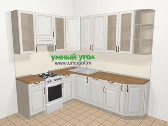 Угловая кухня МДФ патина в классическом стиле 6,6 м², 190 на 240 см, Лиственница белая, верхние модули 92 см, посудомоечная машина, отдельно стоящая плита