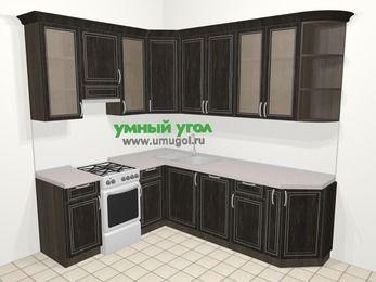 Угловая кухня МДФ патина в классическом стиле 6,6 м², 190 на 240 см, Венге, верхние модули 92 см, посудомоечная машина, отдельно стоящая плита