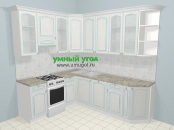 Угловая кухня МДФ патина в стиле прованс 6,6 м², 190 на 240 см, Лиственница белая, верхние модули 92 см, посудомоечная машина, отдельно стоящая плита